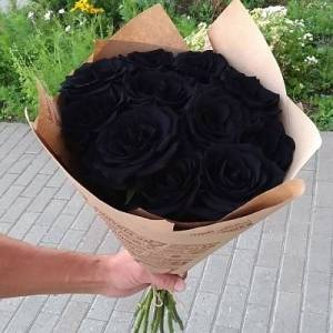 Букет 11 черных роз в крафте R832