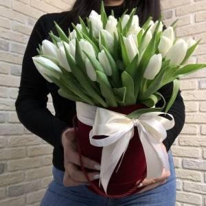 Коробка 39 тюльпанов с лентами R1256