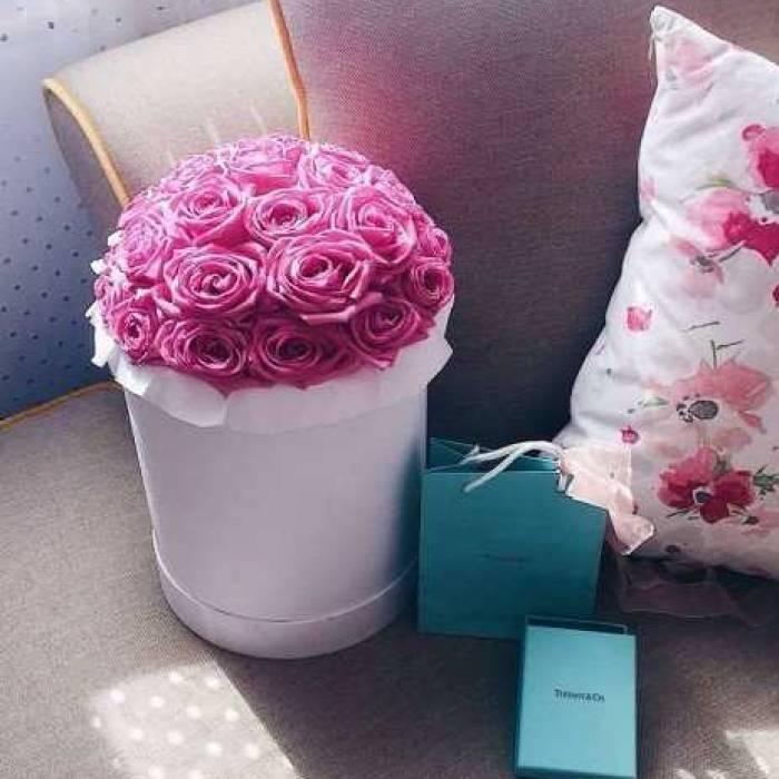 31 розовая роза в коробке R479