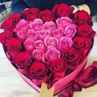 Сердце 25 красных и розовых роз R001