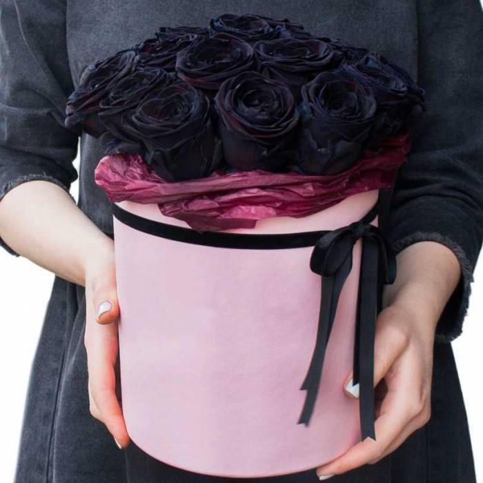 15 черных роз в коробке R006