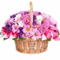 Корзина 15 веток хризантемы и статицы R003